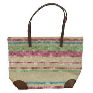 Straw Beach Leather Picnic Tote Bag