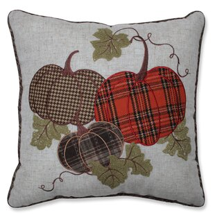 Delano Harvest Plaid Pumpkins Applique Throw Pillow