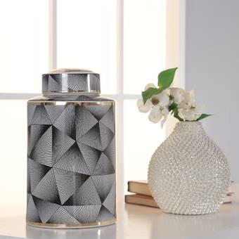Brayden Studio Saguenay Black Indoor Outdoor Ceramic Table Vase Wayfair