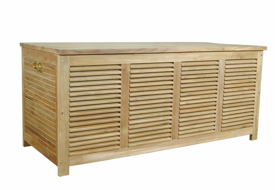 Rosecliff Heights Giovanni Cushion Box Teak Storage Bench