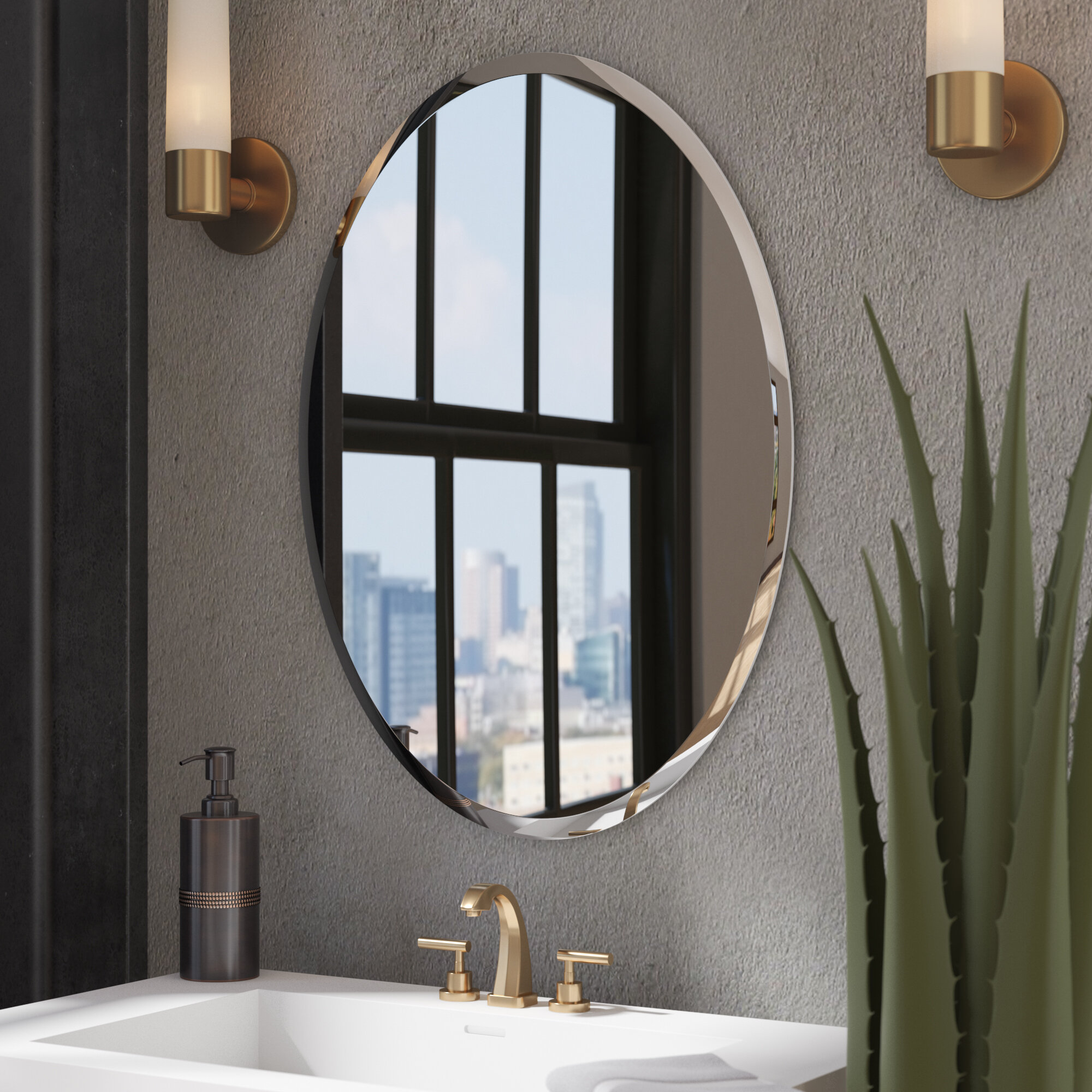 Kayden Modern & Contemporary Beveled Frameless Bathroom Mirror