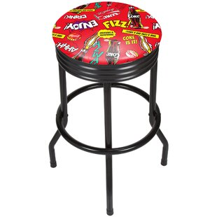 Coca Cola Pop Art 28.5 Swivel Bar Stool