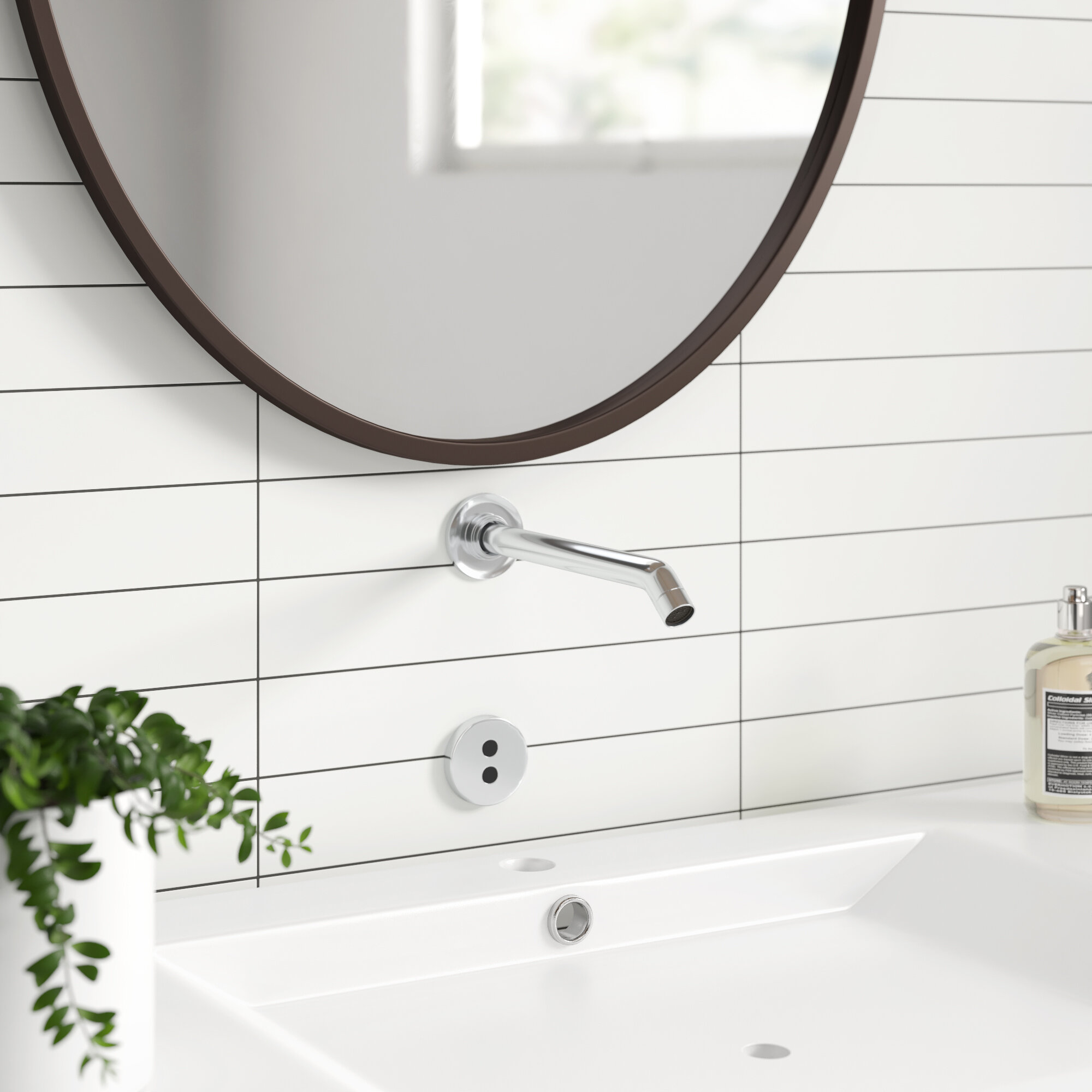 Purist Wall Mount Commercial Bathroom Sink Faucet Trim With 8 1 4 35 Degree Spout And Insight Technology Allmodern