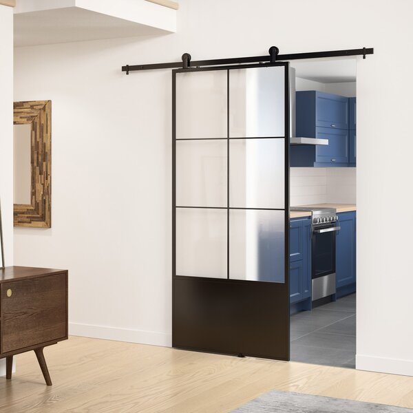 Charmant Frosted Glass/Paneled Metal And Glass Broadway Barn Door With Installation  Hardware Kit
