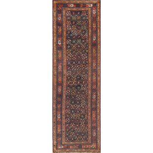 One-of-a-Kind Lumpkin Geometric Bakhtiari Persian Hand-Knotted 11' 6'' x 3' 7'' Wool Red/Burgundy Area Rug ByIsabelline