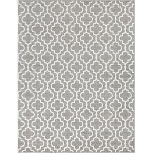 Reviews Shonnard Trellis Gray/White Area Rug By House of Hampton