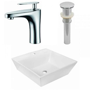Online Reviews Ceramic Square Vessel Bathroom Sink with Faucet ByAmerican Imaginations