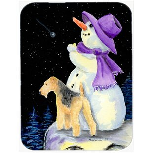 Snowman with Lakeland Terrier Glass Cutting Board By Caroline's Treasures