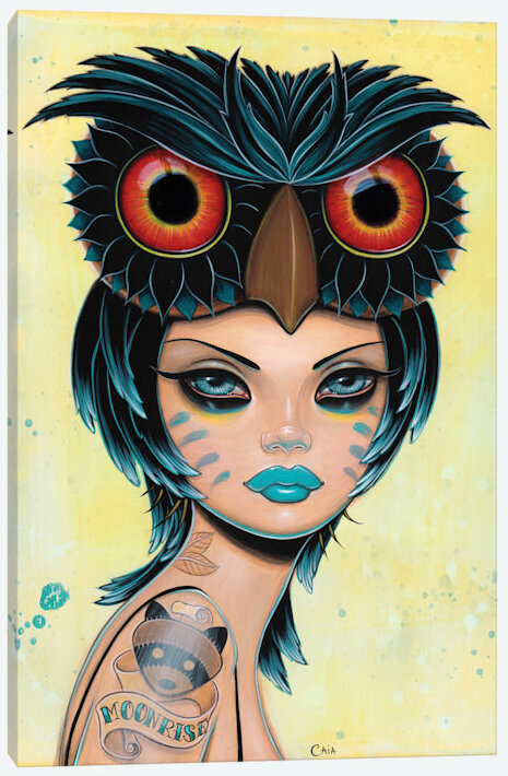East Urban Home Moonrise Owl Painting Print On Wrapped Canvas Wayfair