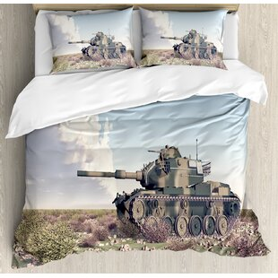 War Home American Camouflage Tank of the Cold War Historical Facts Battle Art Picture Duvet Set by Ambesonne