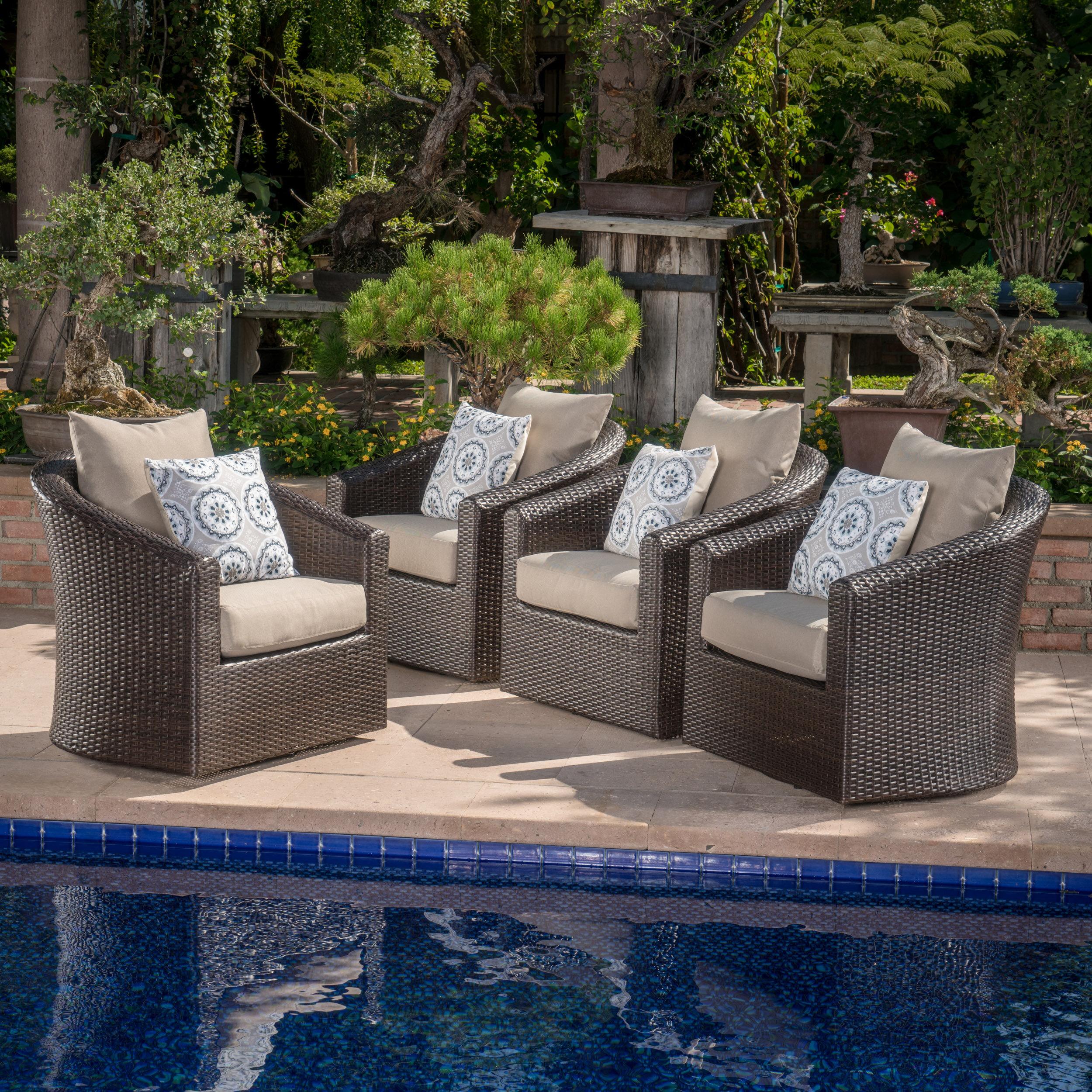 Red barrel studio dierdre modern outdoor wicker swivel club patio chair with cushions wayfair