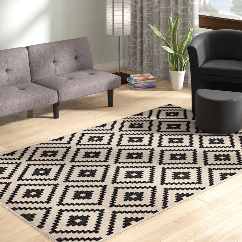 Wrought Studio Eisen Geometric Trellis Black Beige Indoor Outdoor Area Rug Reviews Wayfair