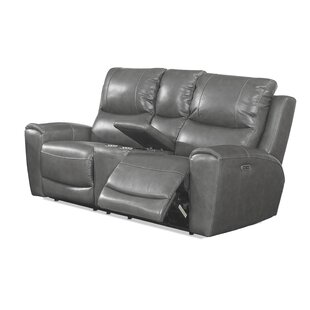 Palmateer Leather Reclining Loveseat by Red Barrel Studio #1