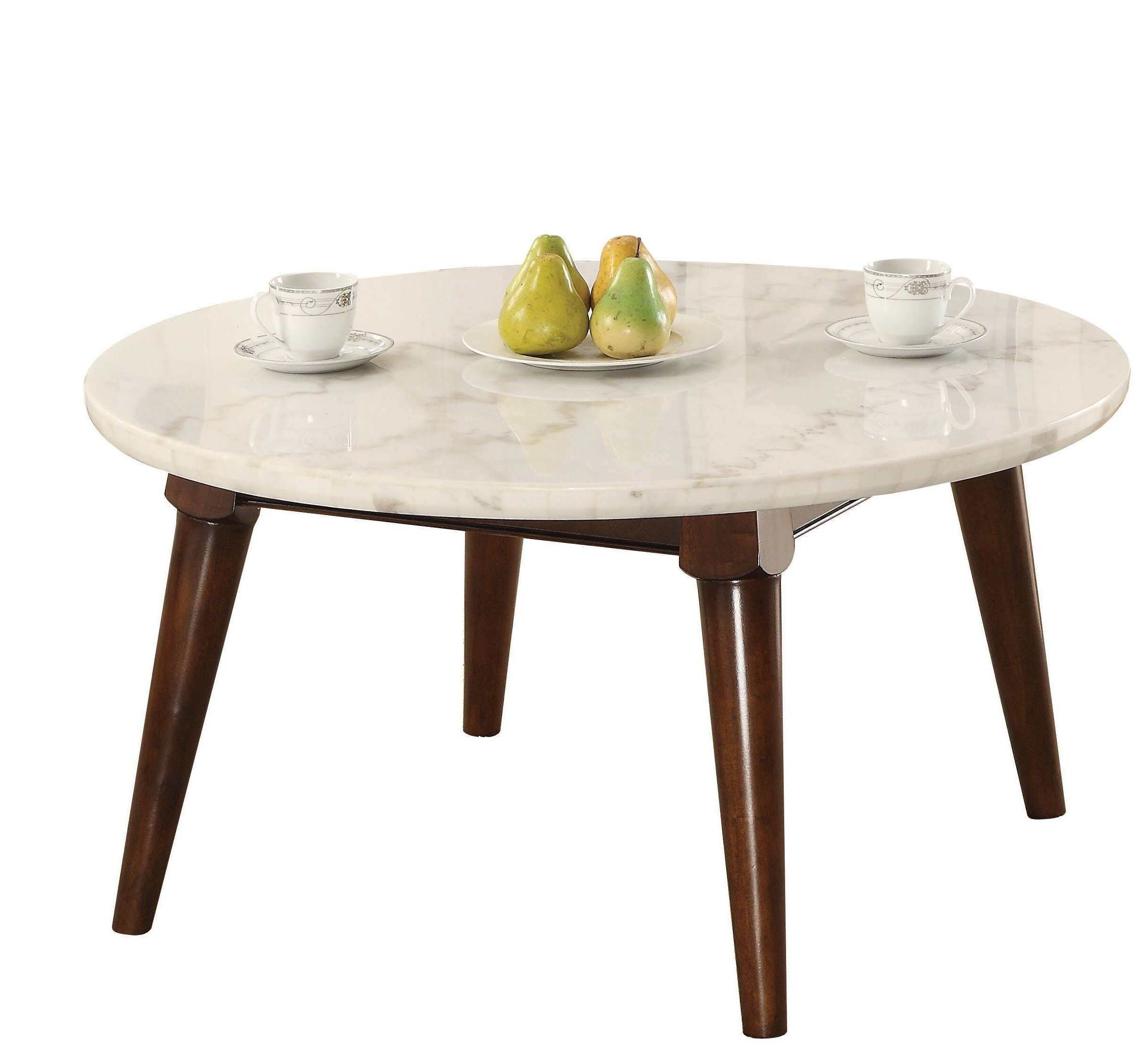 Picture of: Ivy Bronx Calderdale Marble Top Wood Base Coffee Table Reviews Wayfair