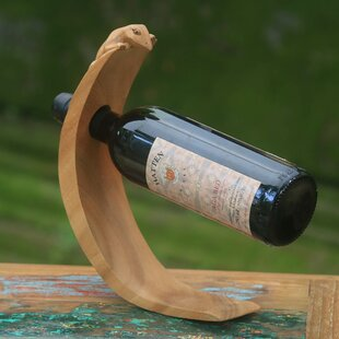 Lizard Theme Wood 1 Bottle Tabletop Wine Bottle Rack