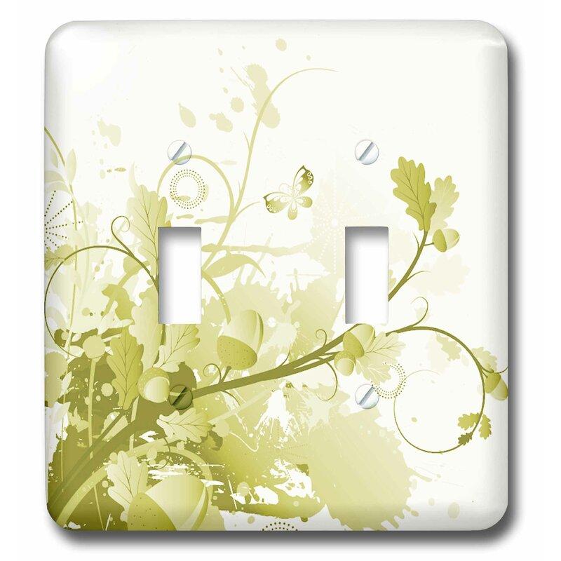 3drose Pretty Leaves Flourish 2 Gang Toggle Light Switch Wall Plate Wayfair