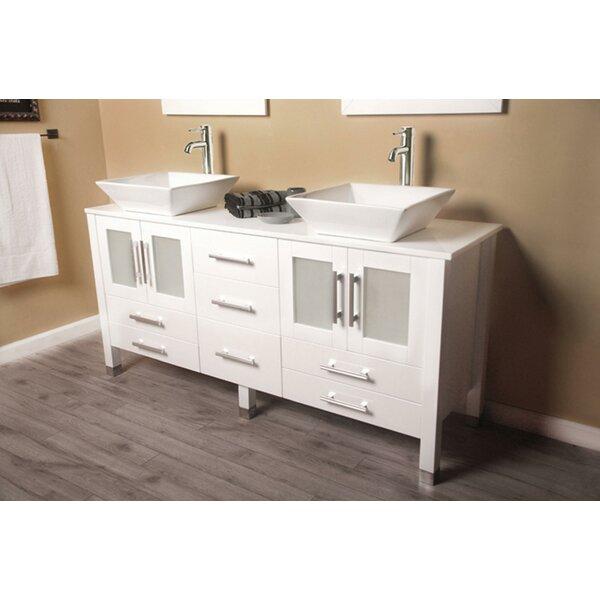 Brayden Studio Meserve Solid Wood Vanity 64 Double Bathroom Set With Mirror Reviews Wayfair