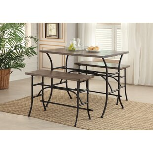Gracie Oaks Bruna Metal 3 Piece Counter Height Dining Set