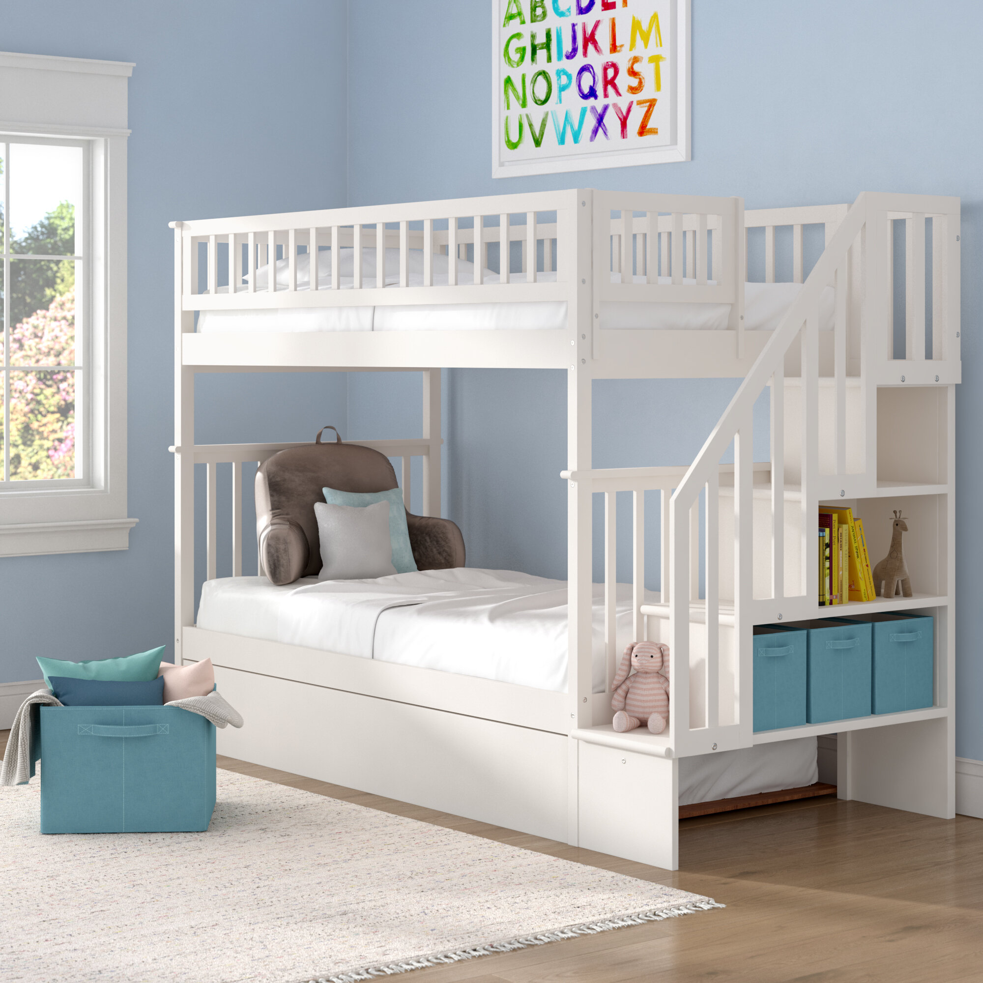 Viv Rae Shyann Staircase Twin Over Twin Bunk Bed With Trundle Reviews Wayfair