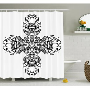 Ragnar Royal Old Knot Pattern With Curled Lace Leaf Figures Renaissance Times Decor Single Shower Curtain