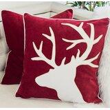 Calion Reindeer Shiny Linen Applique Square Velvet Throw Pillow