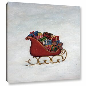 Deck the Halls Sleigh Painting Print on Wrapped Canvas
