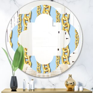 Quatrefoil Chain Pattern Modern Frameless Wall Mirror