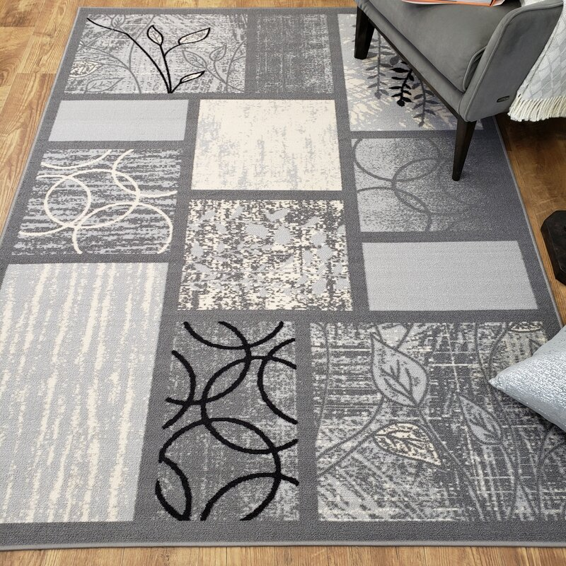 Rubber Backed Gray Area Rug