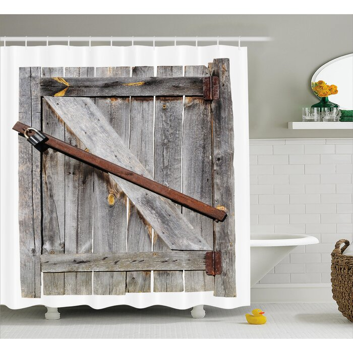 Rustic Aged Wooden Barn Door Shower Curtain