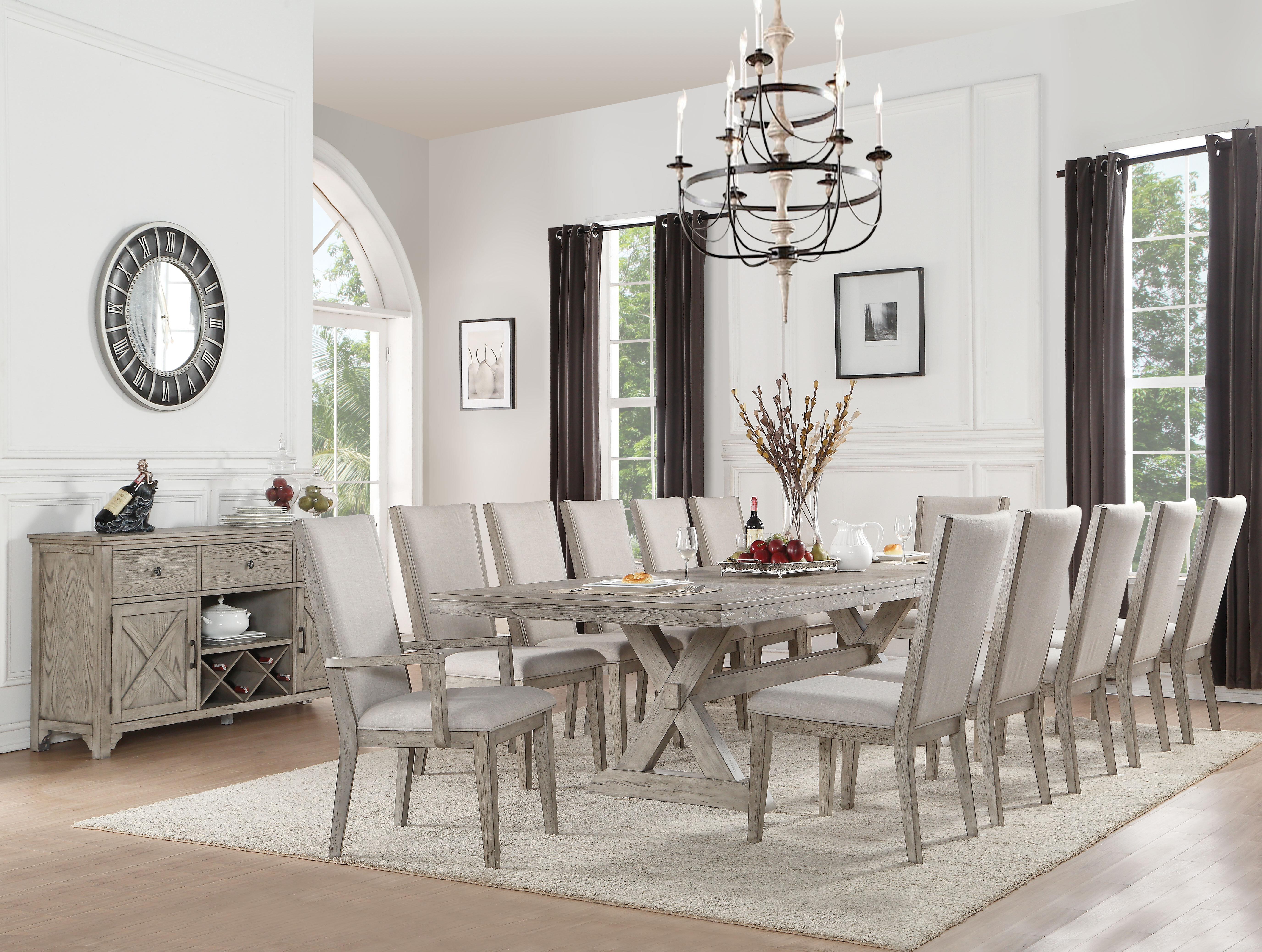 Coastal Farmhouse Carolina 13 Piece Extendable Dining Set Reviews Wayfair