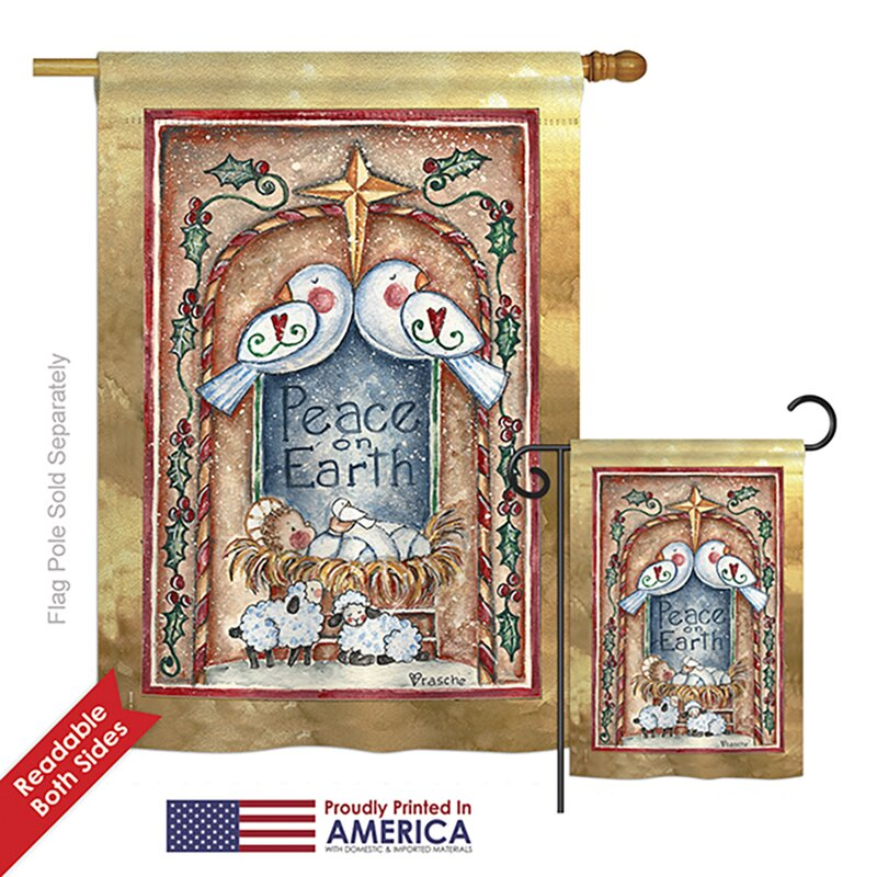 Breeze Decor Peace On Earth Doves And Nativity Winter Impressions 2 Sided Polyester 2 Piece Flag Set Wayfair