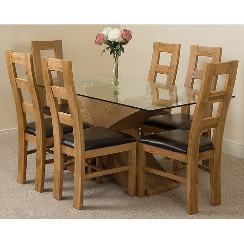 Ediz Solid Oak Leather Glass Dining Set with 6 Chairs Eb