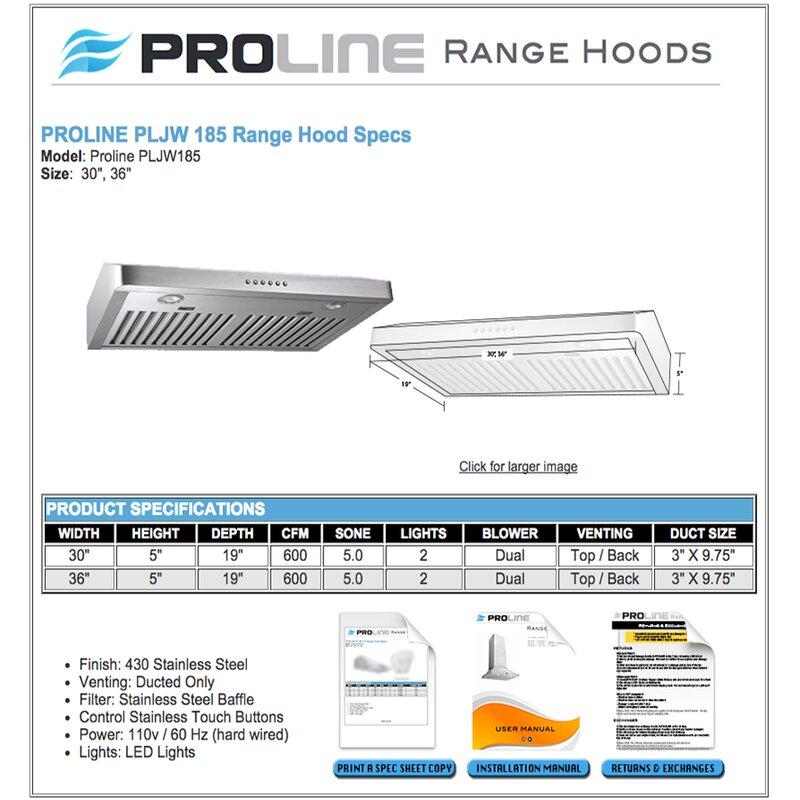 36 600 Cfm Ducted Under Cabinet Range Hood