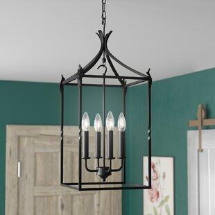 Franck Classic Iron 4-Light Foyer Lantern Pendant by Charlton Home