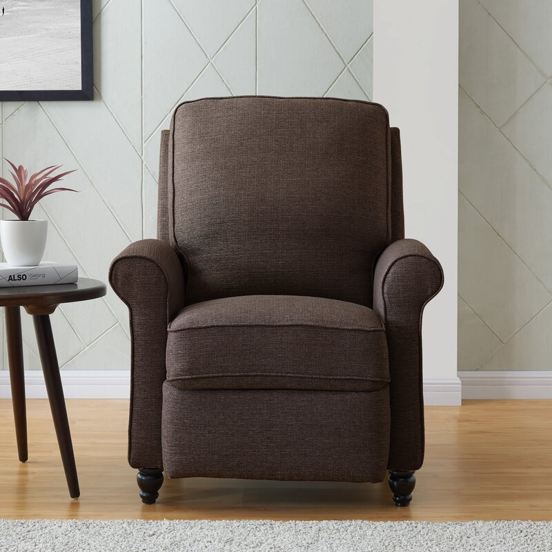 Andover Mills Leni 33.5 Inch Wide Manual Standard Recliner (Chocolate Brown Polyester)