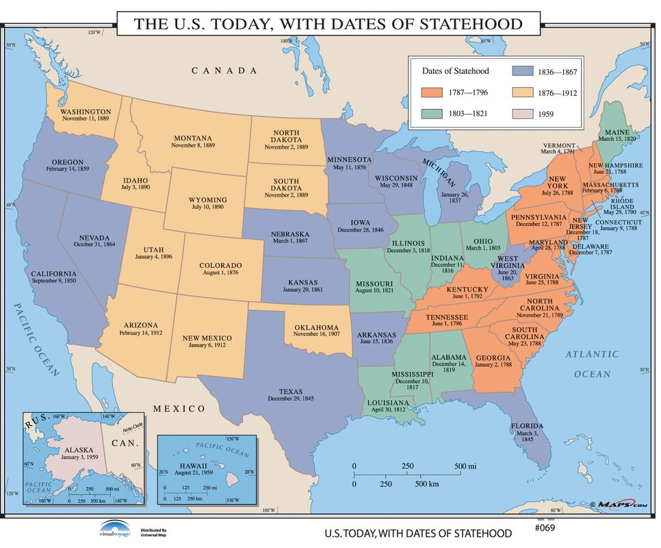 Universal Map US History Wall Maps US Today With Dates Of - Wall maps