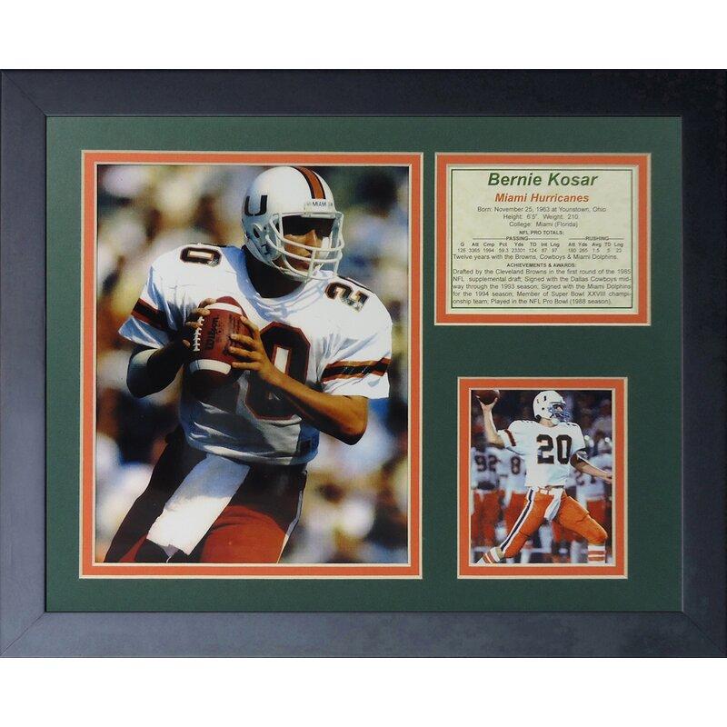 29ba6d0a2 Legends Never Die Bernie Kosar - Miami Hurricanes Framed Memorabilia |  Wayfair