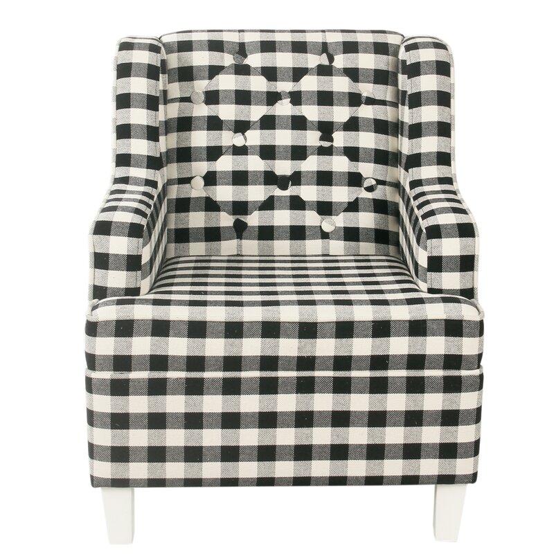 Tufted Wingback Chair - Mini Black Plaid