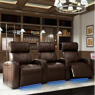 Wonderful Home Theater Row Curved Seating with Chaise Footrest (Row of 3) Latitude Run