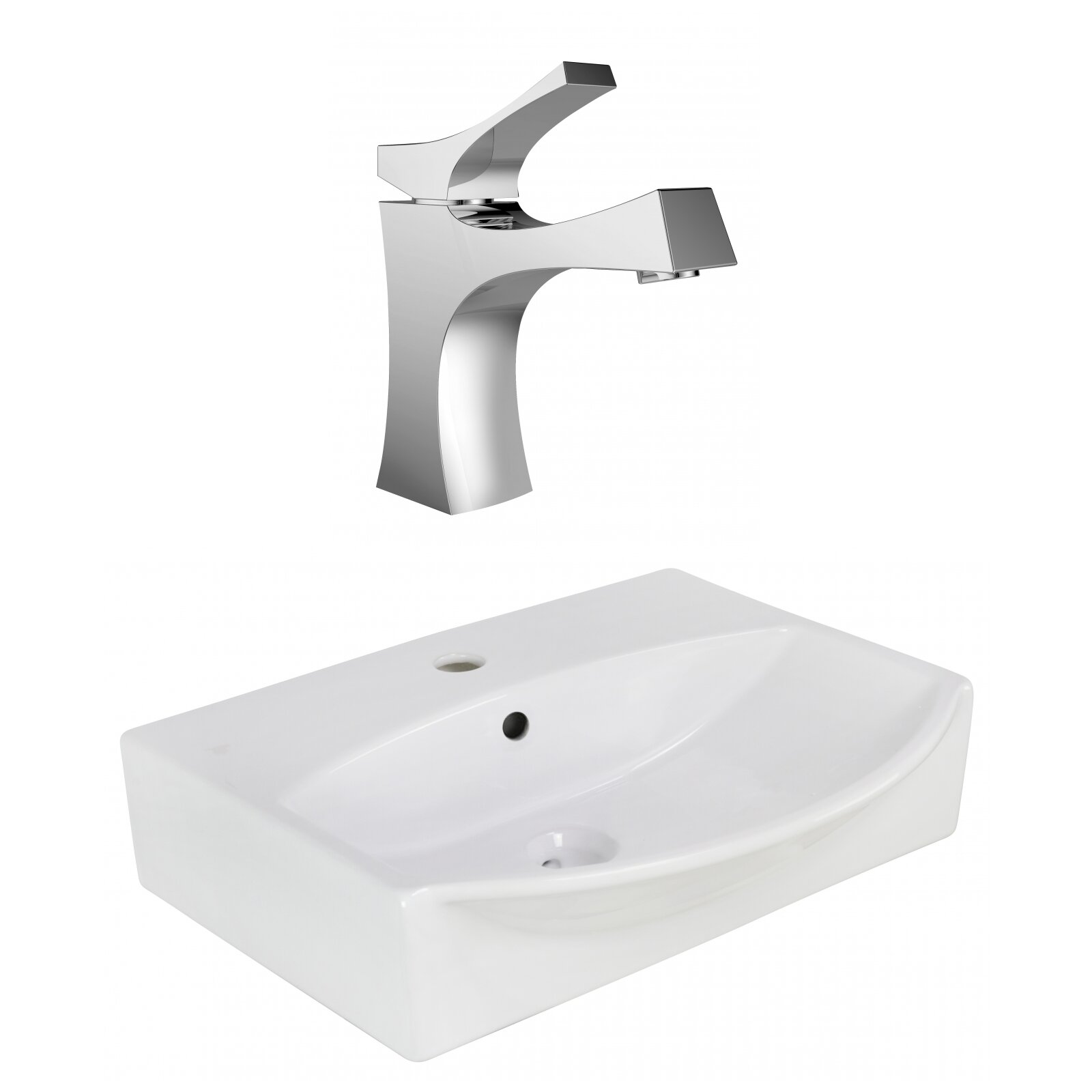 American Imaginations Ceramic U Shaped Bathroom Sink With Faucet And Overflow Wayfair