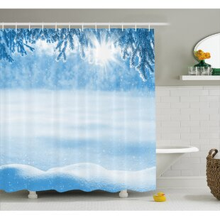 Compare Serrano Psychedelic Winter Background With Snow Drifts and Cold Pine Branch Image Shower Curtain ByWinston Porter