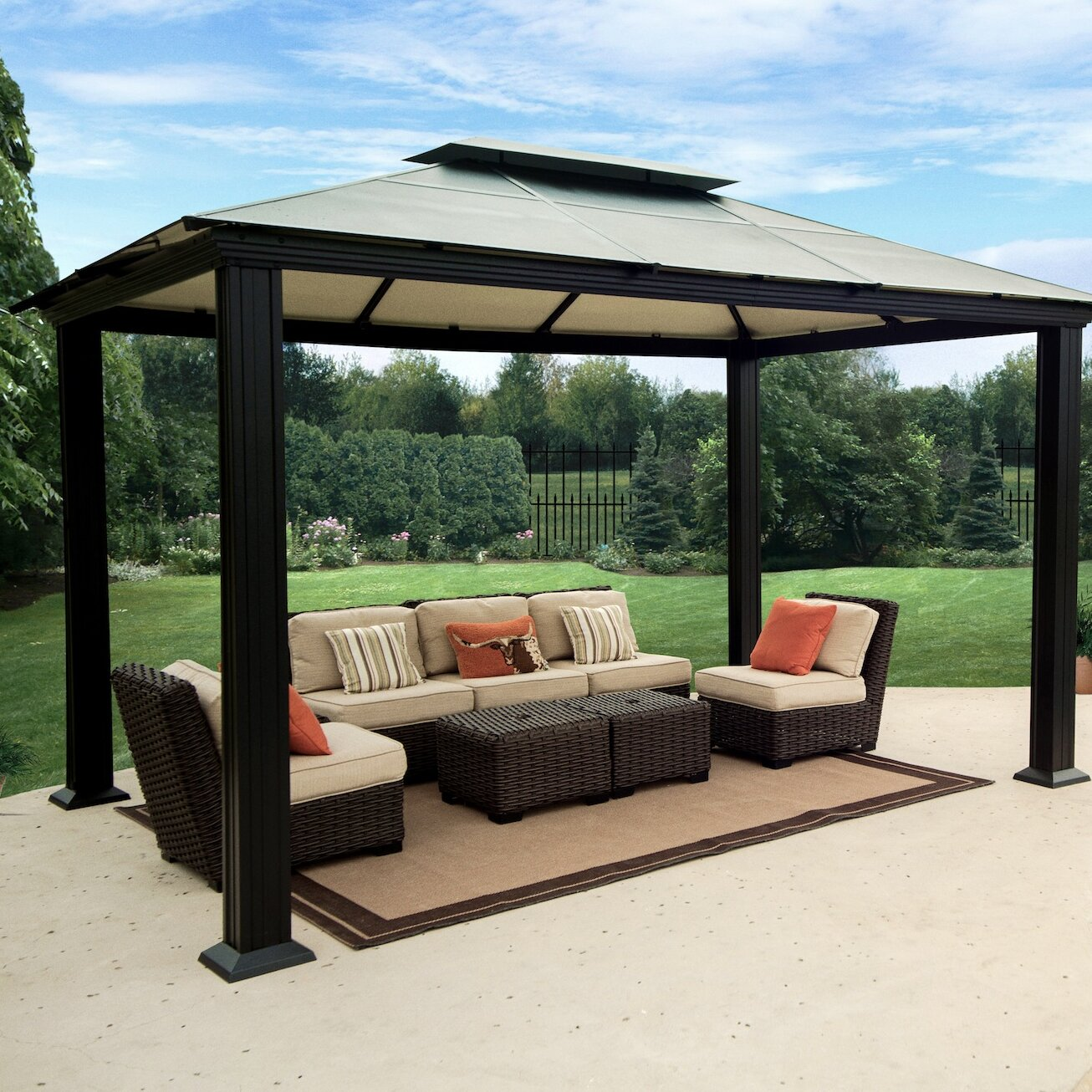 Superb Santa Monica Four Season 11 Ft W X 13 Ft D Metal Patio Gazebo Home Interior And Landscaping Ologienasavecom