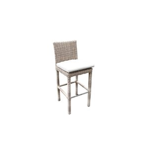 Searle Outdoor Wicker 36� Patio Bar Stool with Cushion by Ivy Bronx