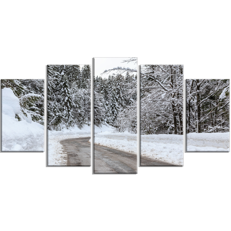 Designart Foggy Winter Road In Slovenia 5 Piece Photographic Print On Wrapped Canvas Set Wayfair