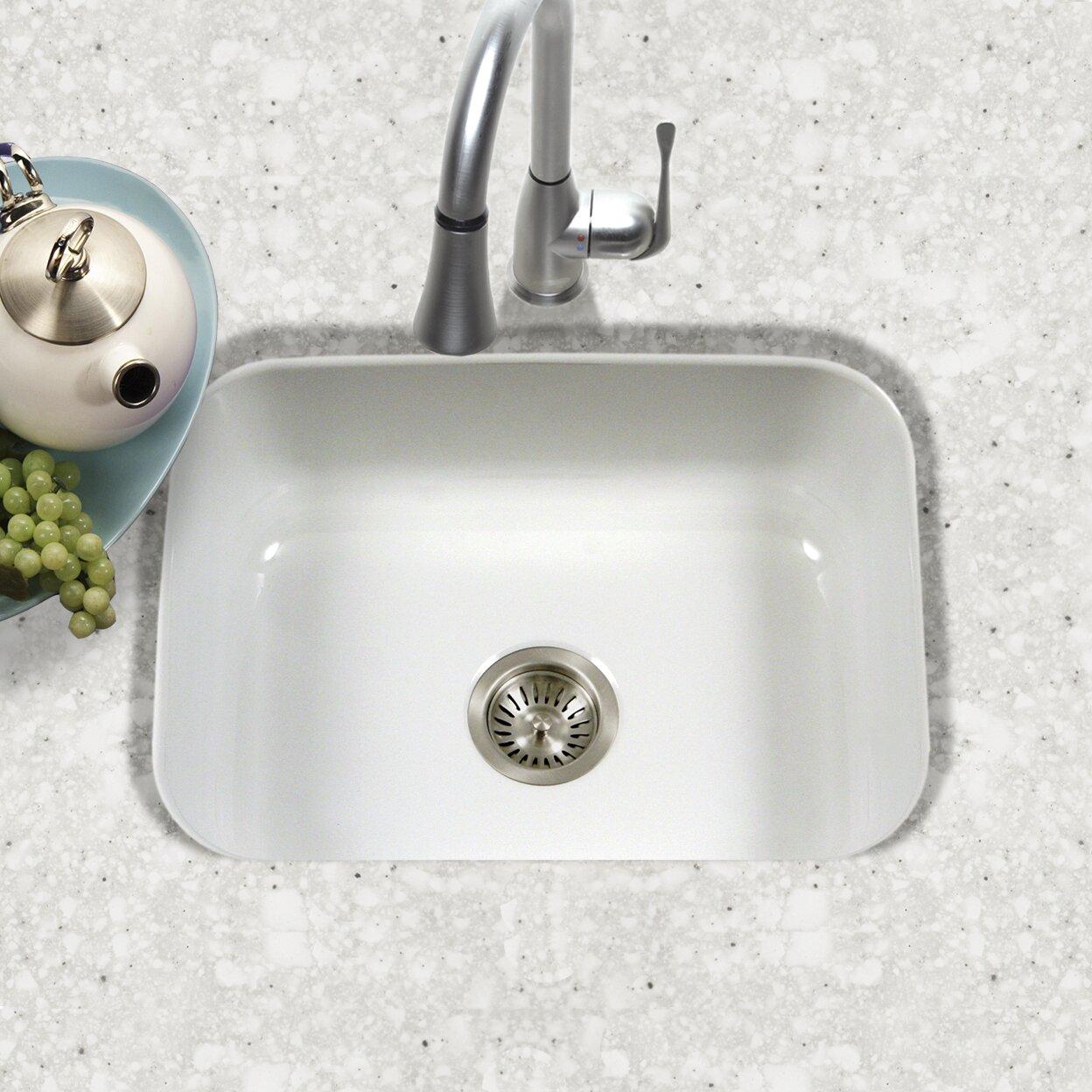 porcela 2276 x 174 porcelain enamel steel undermount single kitchen sink - Enamel Kitchen Sink