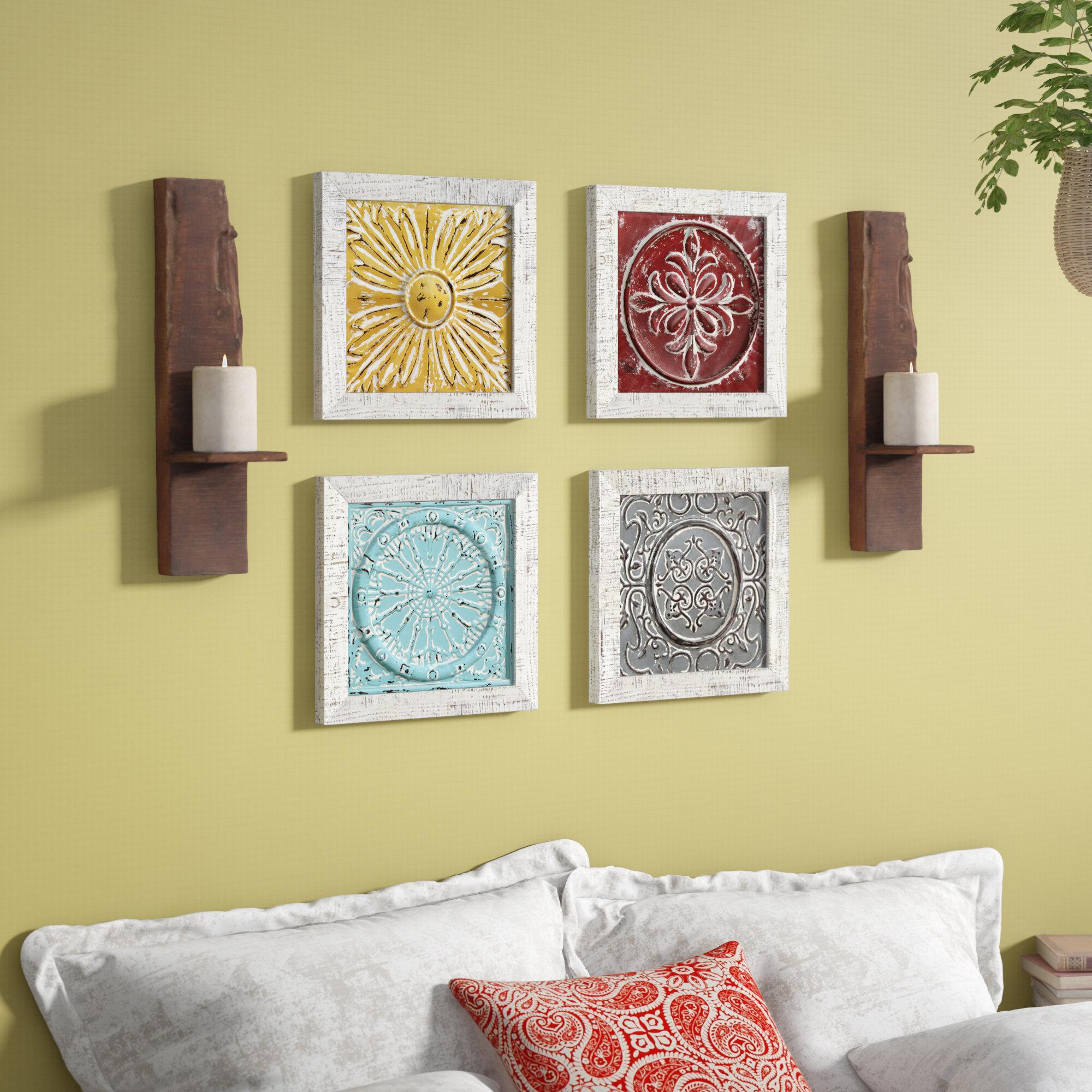 Bungalow Rose 4 Piece Accent Tile Wall Décor Set & Reviews   Wayfair