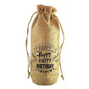 Happy Happy Birthday Jute Wine Bottle Sack
