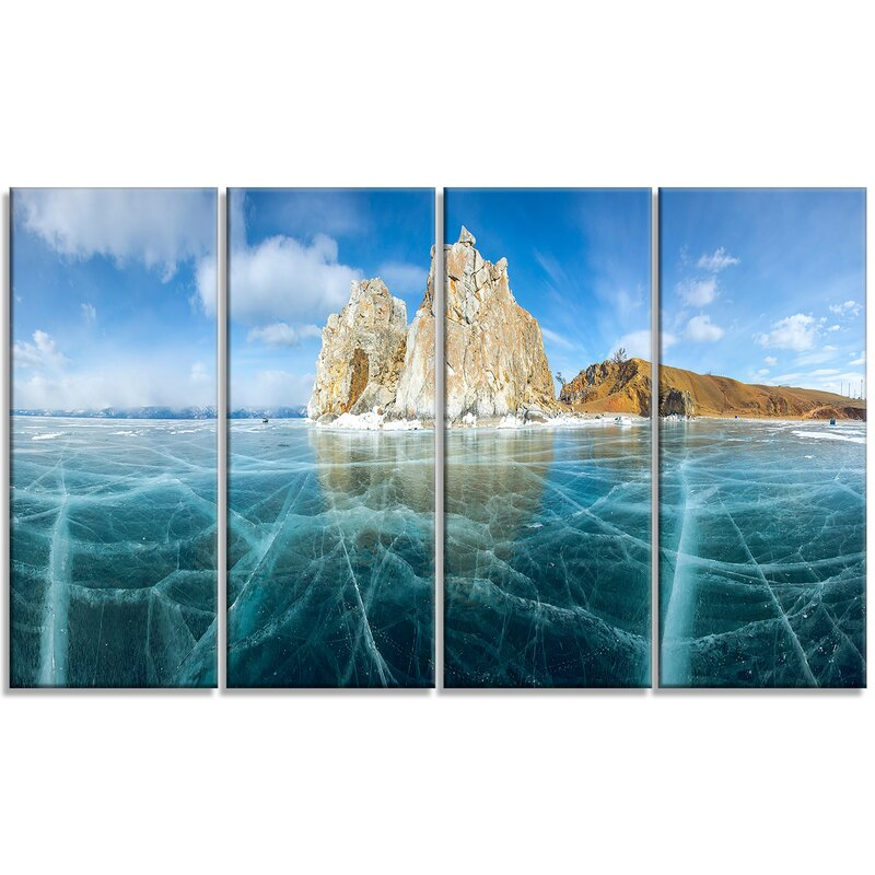 Designart Lake Baikal Ice And Rocks Panorama 4 Piece Wrapped Canvas Graphic Art Print Set On Canvas Wayfair