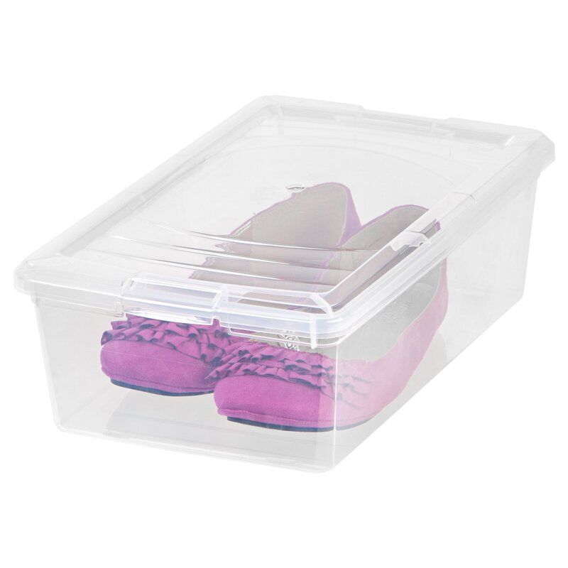 Merveilleux 6 Quart Modular 1 Pair Stackable Shoe Storage Box