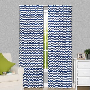 Chevron Blackout Rod Pocket Curtain Panels (Set of 2)